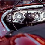 Oldtimer convertible red speedometer