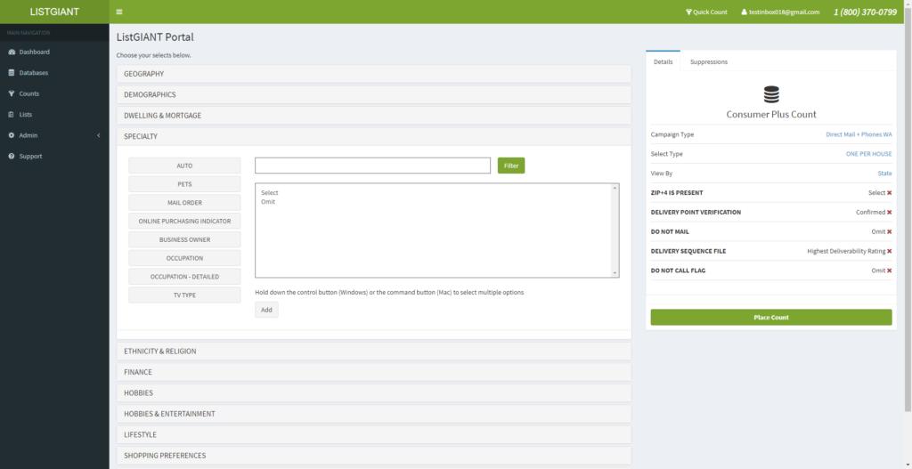 List Portal Online purchaser data